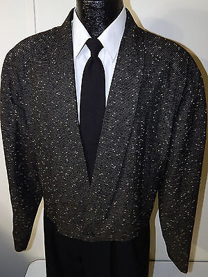 Vtg Black ATOMIC FLECK Sport Coat HOLLYWOOD VLV Vegas ROCKABILLY RICKY Jacket L