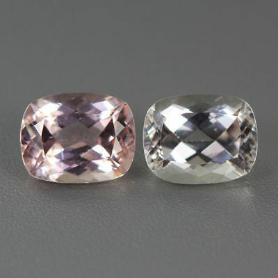 4.800 Ct Unique Very Rare Natural Amazing Fine Luster White & Pink Kunzite Pair!