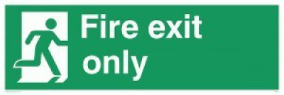 """Viking Signs Sb414-l62-ac """"Fire Exit Only"""" Sign, Aluminium Composite, 200mm H x"""