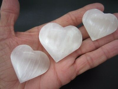 HEART SELENITE Lot of (3) Small Palm Stone Polished Pocket  Worry Morocco 120g