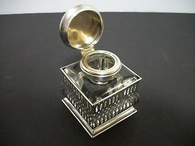Antique F&B Foster & Bailey Sterling Silver Crystal Inkwell With Stand