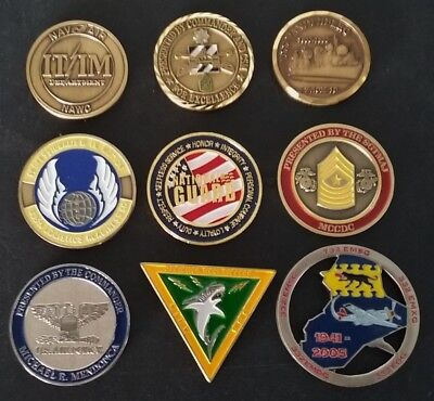9 Coins Challenge Coin lot set Collection Military NO DUPLICATES