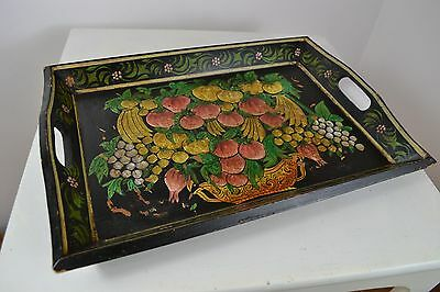 1800s VICTORIAN EBONISED WOODEN SERVING TRAY COLOURFUL FLORAL DESIGN SCOTS MADE