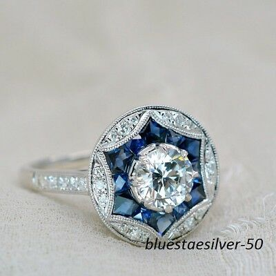Art Deco 2.5Ct White Blue Sapphire Vintage Woman Engagement Ring Sterling Silver