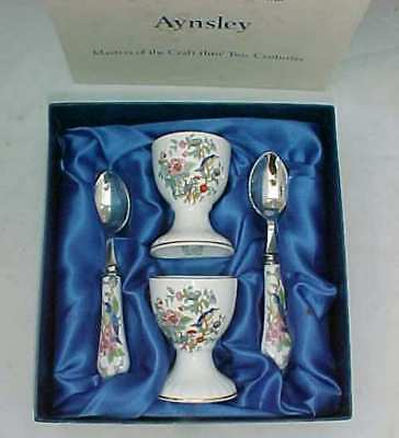 Aynsley Pembroke Gold Trim Two Egg Cup Set With Spoons Boxed