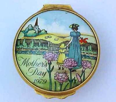 Bilston & Battersea Enamels Patch Box Halcyon Days Mothers Day 1979