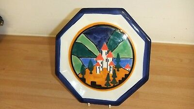 Clarice Cliff's Lucerne  Hexagonal Plate Hand-Painted By Julia Napier
