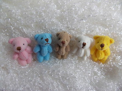 5 miniature TEDDY BEARS, Crafts, Hobbies, Dolls House, Toy,  jointed 3.5 cms