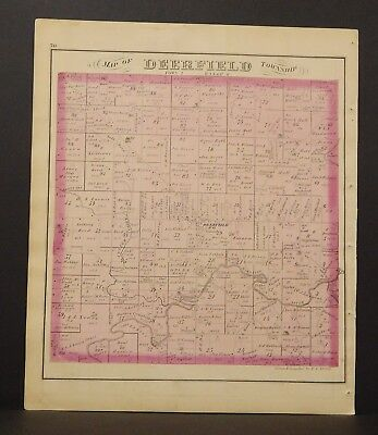 Ohio Portage County Map Deerfield Township 1874 Dbl Side  Y14#48