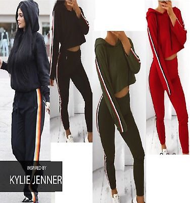 Women Ladies Stripe Crop Hoodie Top Tracksuit Joggers Bottom Trouser Set Lounge
