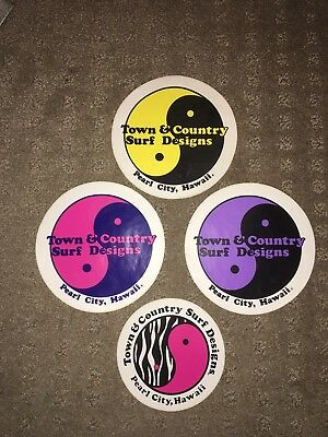 Vintage 70s T&C Town and Country Surf Design Surfboard Skateboard Stickers x4
