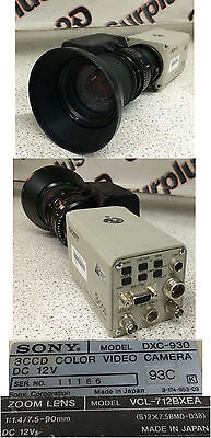 Sony DXC-930 3CCD Color Video Camera w/VCL-712BXEA Zoom Lens