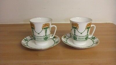 Vintage Pair Of Lomonosov Porcelain Coffee Cups And Saucers Made In Russia