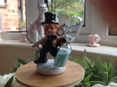 Vintage Chimney Sweep egg timer with glass marked Foreign on base
