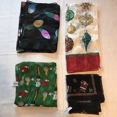 2 Scarves Christmas Ornaments Lights Oblong Holiday Winter Scarf Vtg Lot Ladies