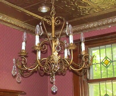 Vintage antique italian gold /  bronze tole 6 light chandelier french cut prisms