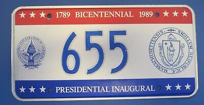 1989 DC Bicentennial Inaugural license plate excellent condition Mass.  seal