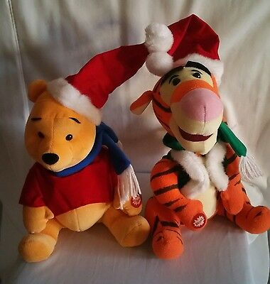 Winnie the Pooh & Tiger Musical Toys  Dressed in Christmas Hat and Scarf