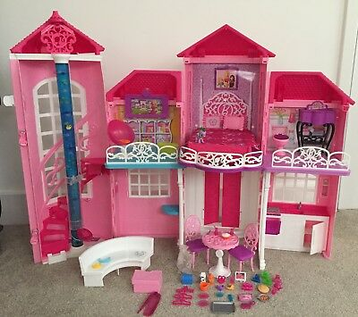 Large Foldable Barbie Doll MALIBU House - 2 Floors With A Lift, Furniture & More