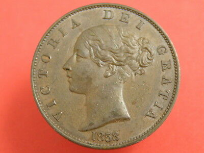 1858 - QUEEN VICTORIA  HALFPENNY COIN - SCARCE '8 over 7' Variety - Good Example