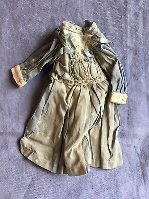 """Antique Blue Polka Dot Doll's Dress Trimmed With Lace & Ribbons - 9-1/2"""" Long"""