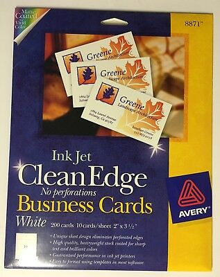 Avery #8871 Inkjet White Business Cards, Clean Edge, 12 Sheets Of 10