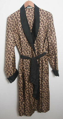 VINTAGE 1960s Mod Mens Dressing gown smoking jacket brown Tricel size 40 (1426)