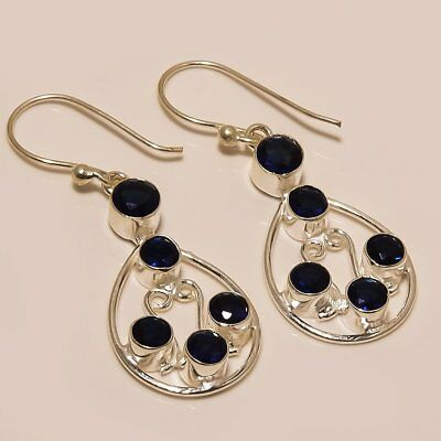 Blue Sapphire Gemstone Handmade Ethnic Style .925 Silver Earring 1.97""