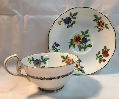 Royal Albert ENGLAND Bone Crown China Tea Cup & Saucer Floral Gold accents