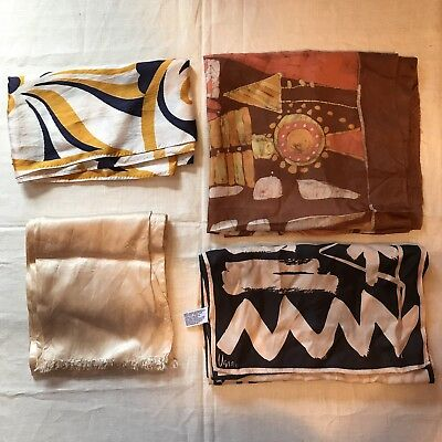 4 Scarves Oblong Vera Swirls Geometric Mushroom Pattern Scarf Vtg Lot Ladies