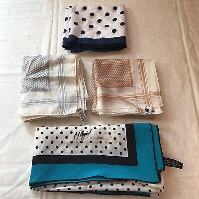 4 Scarves Peter Nygard Baar & Beard Square Polka Dot Scarf Silk Vtg Lot Ladies