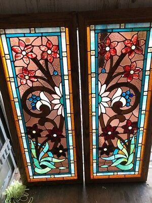 Kr 9 2 Available Price Each Antique Stainglass Transom Window 20.5 X 51