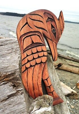 Northwest Coast First Nations native Art carved CRANE, gorgeous Indigenous Art