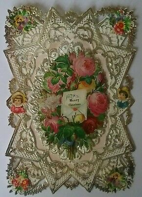 Lovely fold down Paper lace Victorian Christmas  Card.approx.12x8&1/2cms