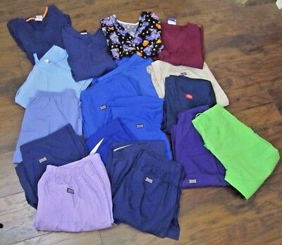 Lot of 18 Scrubs (5) Tops Size S-2XL (13) Bottoms Size XS-2XL Cherokee Dickies