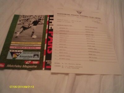 Dunfermline V Queen Of The South Programme + Teamsheet 1988