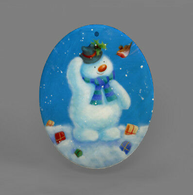 Color Printing Snowman Shell Christmas Pendant Necklace R1709 0012