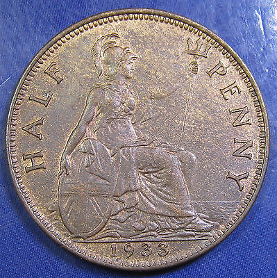 1933 ½d George V bronze Halfpenny in an extremely high grade