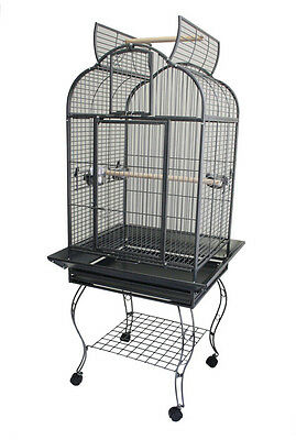 "24""x22"" Stylish Open Top Bird & Parrot Cage w/seed catcher & sitting on Balcony"