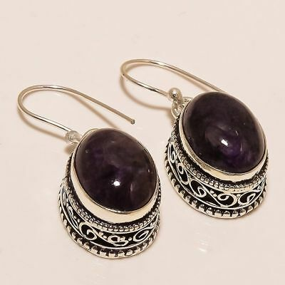 Russian Charoite Gemstone Handmade Vintage Style .925 Silver Earring 1.38""