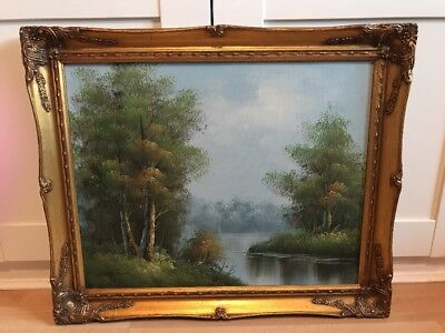Charming Signed Vintage Oil Painting On Canvas Of Landscape In Ornate Gold Frame