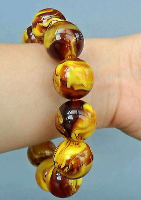 Chinese Handmade Decorative Amber Carved Natural Texture Bead Exquisite Bracelet