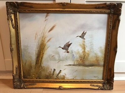 Charming Signed Vintage Oil Painting On Board Of Ducks In Ornate Gold Frame