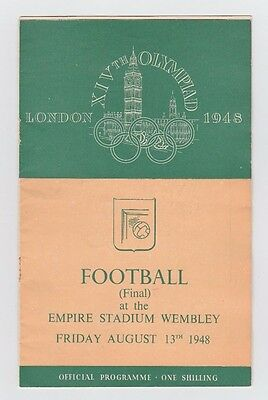 Orig.PRG  Olympic Games LONDON 1948  FOOTBALL FINAL YUGOSLAVIA - SWEDEN ! RARITY