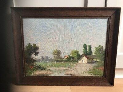 Charming Signed Vintage Oil Painting On Board Of Landscape In Oak Frame