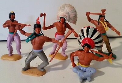 Lot of 5 x 1/32 scale Timpo Swoppett American Native Indians, FREE POSTAGE