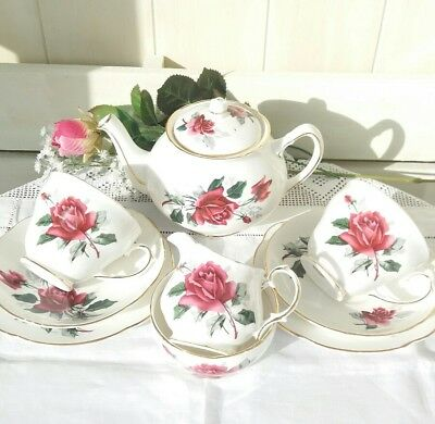 Pretty Vintage China Tea for Two Pink Roses Teaset Teapot Cups Saucers Plates