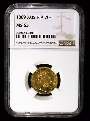 Austria 1889 Gold 8 Florins 20 Francs *NGC MS-63* Sharp Lustrous Only 1 Higher