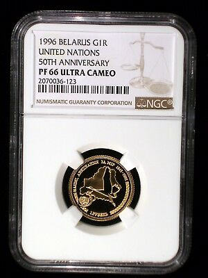 Belarus 1996 Gold Rouble *NGC PF-66 Ultra Cameo* 50th Anniversary United Nations