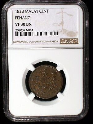Malay Penang 1828 Cent *NGC VF-30* Very RARE Malaysia Singapore Only 6 Known